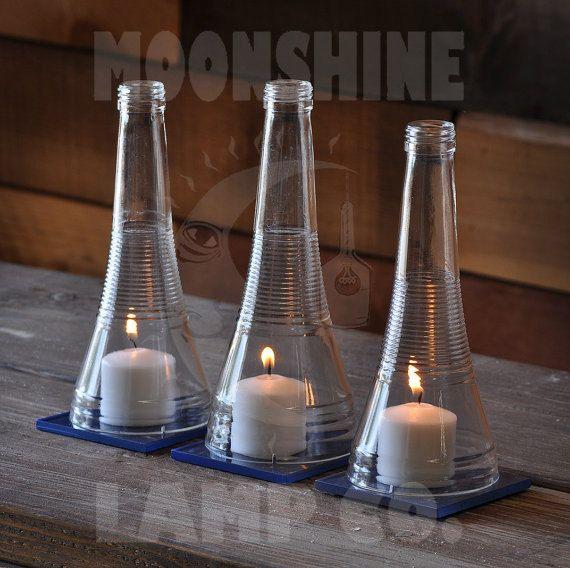 Recycled Bottle Candle Centerpiece – Triple Sec Liqueur Bottle – Wedding Table Centerpiece – Rustic Decor – Colored Glass Tiles