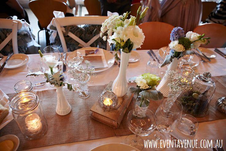Vintage Wedding Table Centerpieces Flowers On Vintage Vases Vintage Candle Holder
