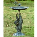 Tropical Sealife Sundial & Birdbath of Cast Aluminum with Verde Finish Shop www.landngarden.com