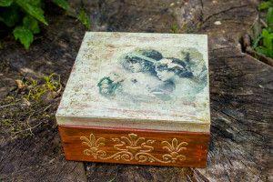 Antic Gold Angels decoupage woden box / Antic Gold Angels pudełko decoupage