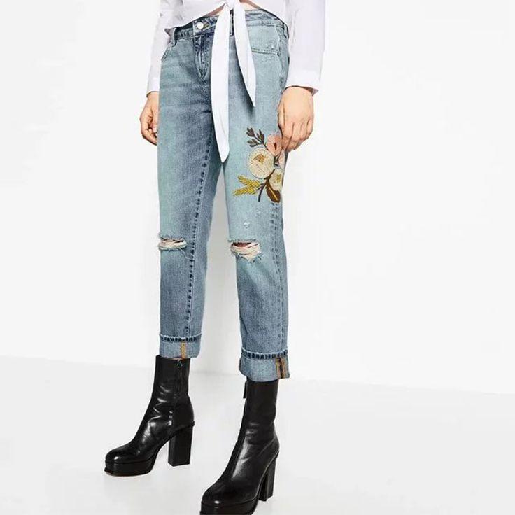 Fashion Women Floral Embroidery Jeans Denim Pant Ripped Zipper Button Pockets Women Skinny Jeans Light Blue Pant XCJP618