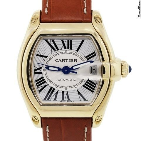 Cartier 18k Gold Roadster 2524 Brown Leather Band Gents Watch