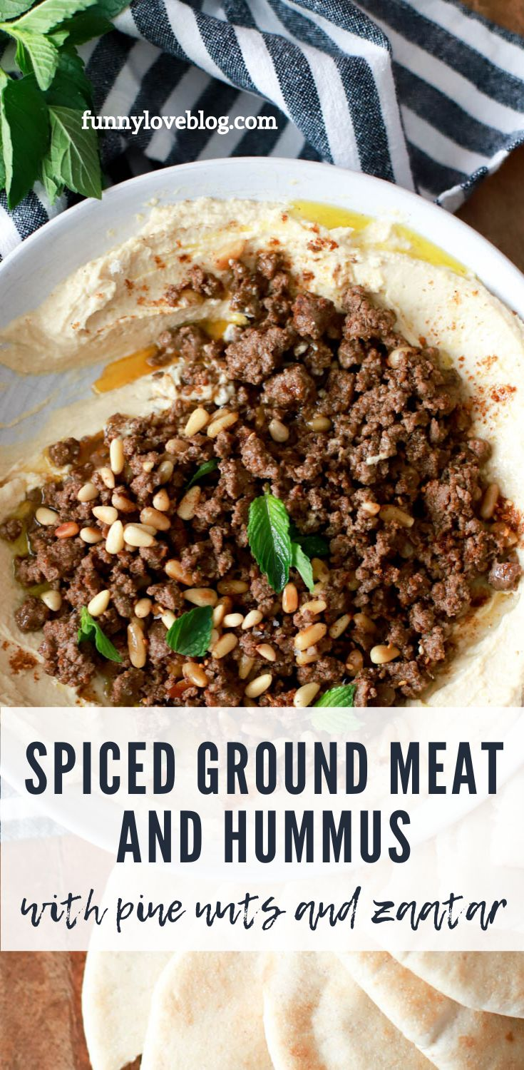 Yummy spiced ground meat (use beef, lamb, pork, or even venison!) that goes over hummus for a protein-packed, savory app…