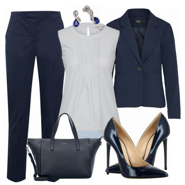 Great business look from blue pants, a beautiful blouse and blue, pointed pu …