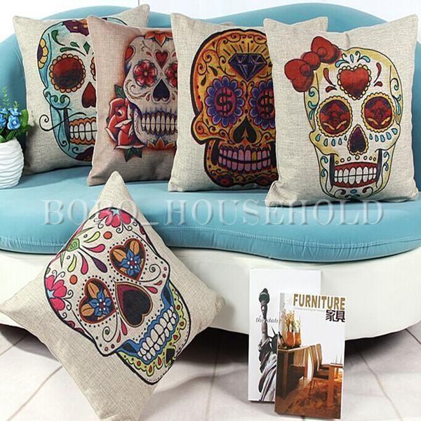 Vintage Home Decor Sugar Skull Cotton Linen Throw Pillow Cushion Cover Case