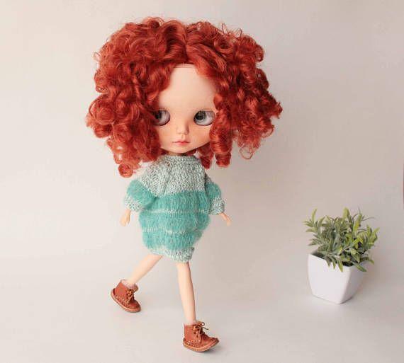 Blythe dress Hand knitted soft cozy mint dress for Blythe