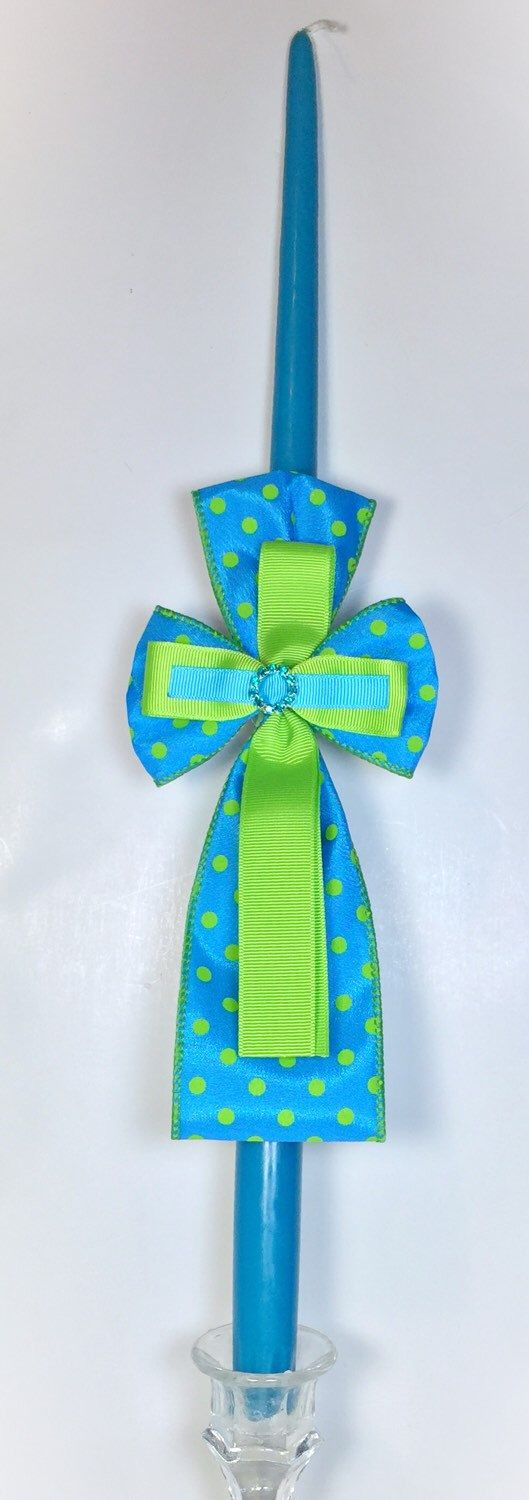 A personal favorite from my Etsy shop https://www.etsy.com/listing/222166298/teal-polka-dot-greek-easter-candle