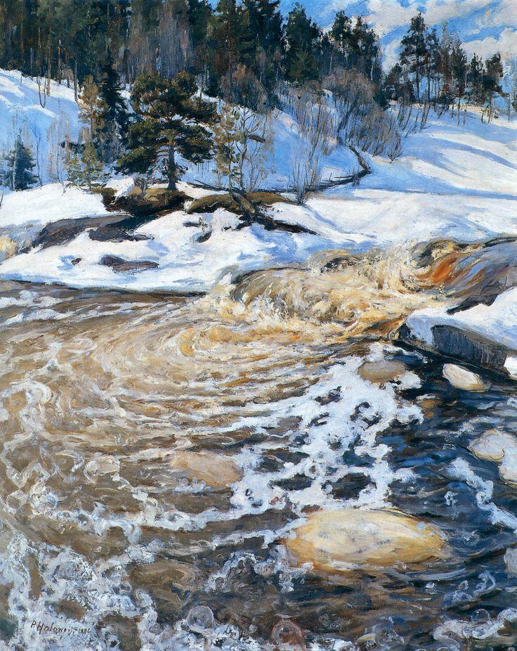 Kevättulva | 1896 | Halonen, Pekka | 1865-1933 || http://paintingdb.com/view/8683/
