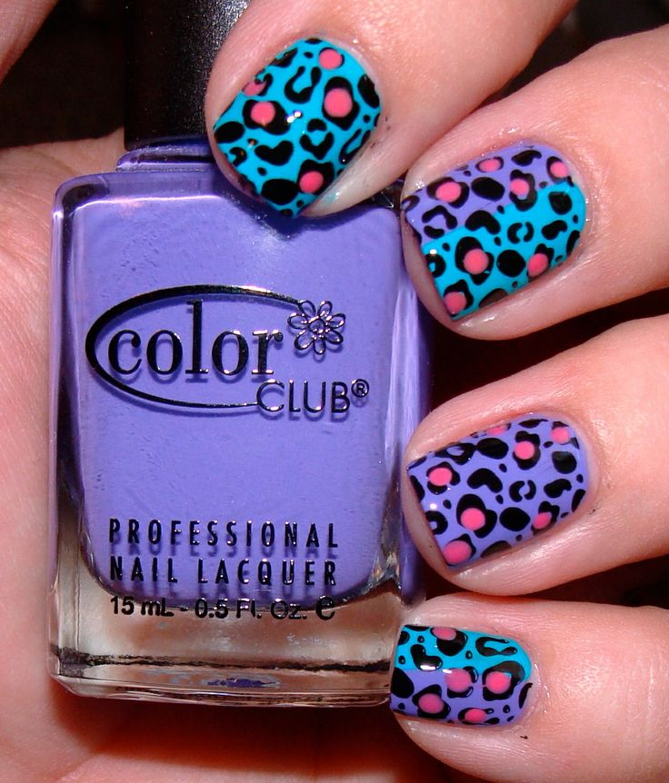 Bright nails 80's party
