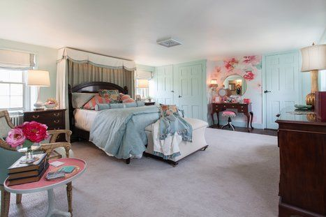 A young ladys bedroom in an historic farmhouse with traditional dark wood furnishings is rejuvenated with an updated color scheme and custom soft treatments. Interior design by Kristine Robinson of Robinson Interiors with Photography by Jonathan Friederich. Traditional Bedroom Design