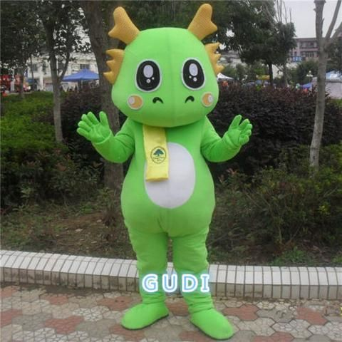 Green dragon cartoon mascot costumes Halloween party adult size, free shipping