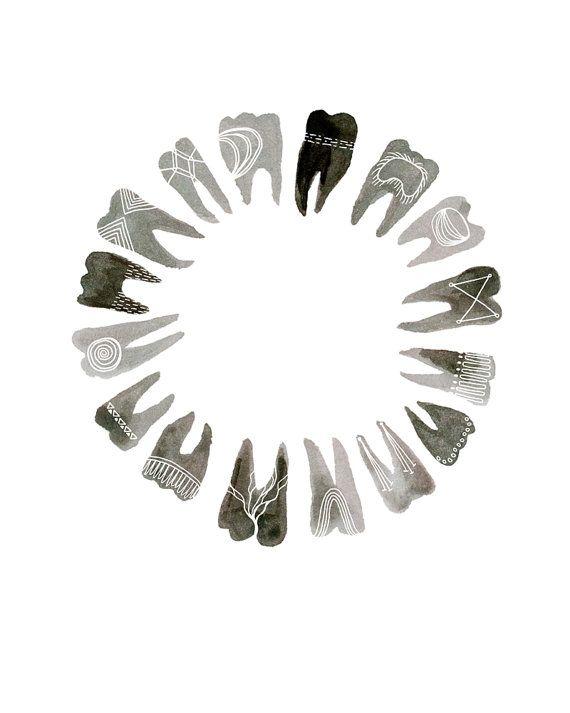 Circular Symbolic Teeth 8x10 print por KatieVernon en Etsy