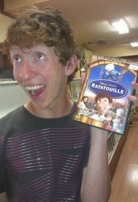 Before the movie, this guy was just another dorky teen. Now, he's the real life doppelganger of Alfredo Linguini from Disney Pixar's Ratatouille . The resemblance is uncanny! (Link)