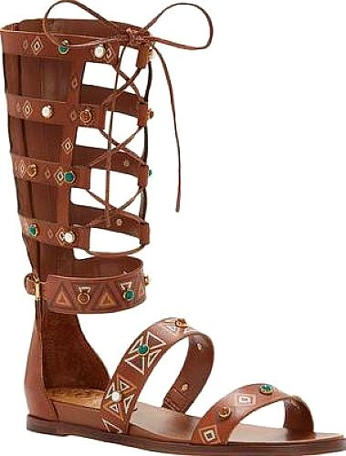 Vince Camuto Shoes - Up your style game with the Vince Camuto Shandon Gladiator Sandal. This tall sandal shows off appealing painted detail and accents. - #vincecamutoshoes #whiskeyshoes