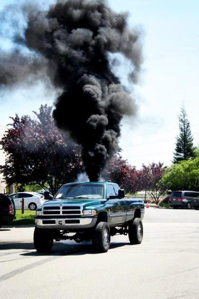 "My goodness... I just love a diesel truck.   Hearing that turbo wind up is music to this girl's ears.   Sigh.This is known as ""rolling coal"""