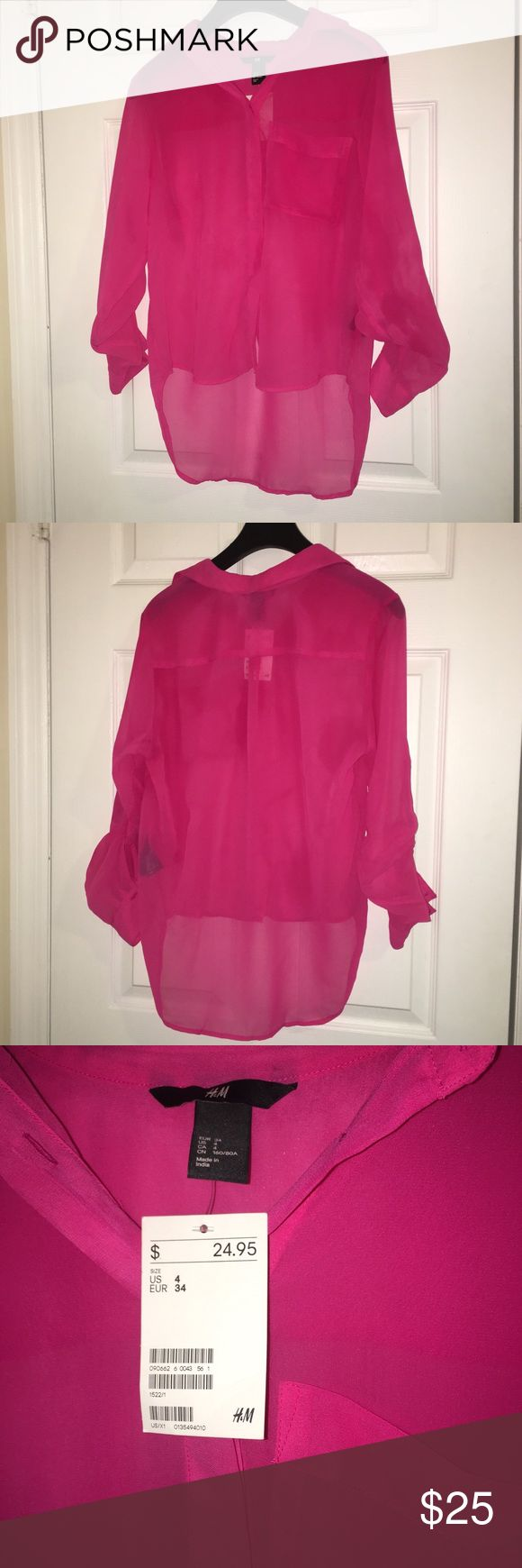 H&M Sheer Hot Pink Blouse H&M Sheer Hot Pink Blouse - Brand New with Tags - Size 4 H&M Tops Blouses