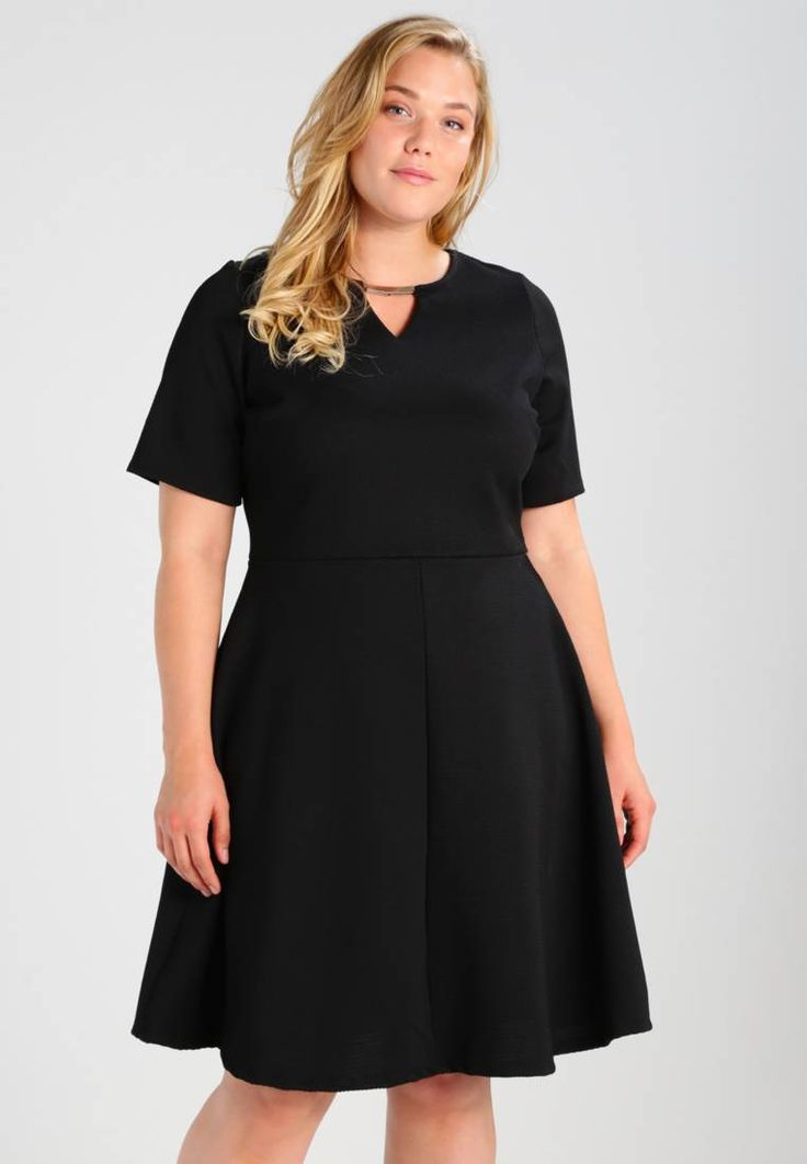 "Dorothy Perkins Curve.  TRIM FIT AND FLARE - Summer dress - black. Fit:tailored. Outer fabric material:93% polyester, 7% spandex. Our model's height:Our model is 69.5 "" tall and is wearing size 18. Pattern:plain. Care instructions:machine wash at 40°C,do not tumbl..."