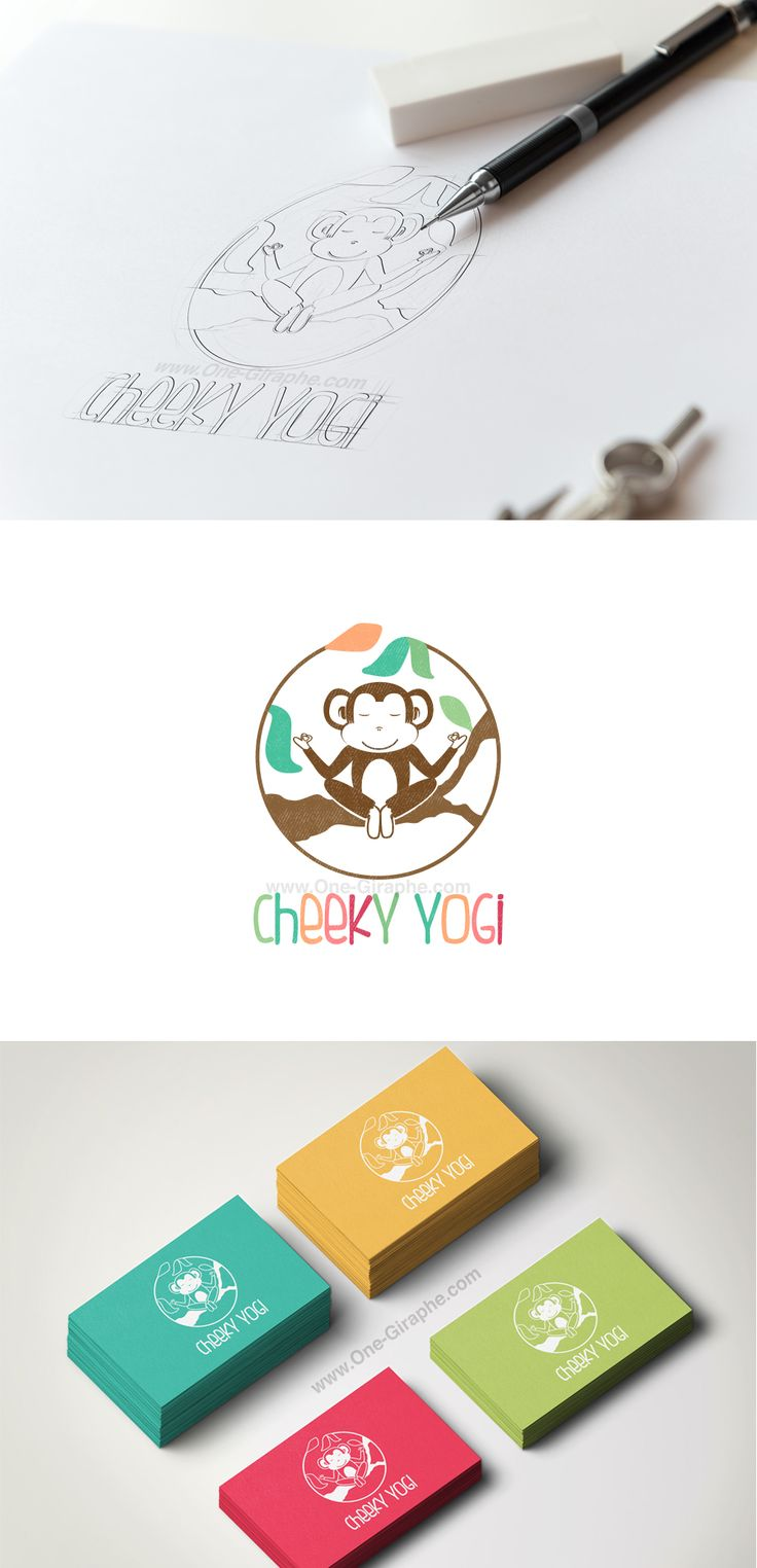 A gamified yoga and mindfulness app for cheeky little yogis. http://www.one-giraphe.com/prev.php?c=172 Branding for babies #baby #kids #app #logo #logodesign #monkey #cheeky #color #colorful #yoga #sweet #cute #branding