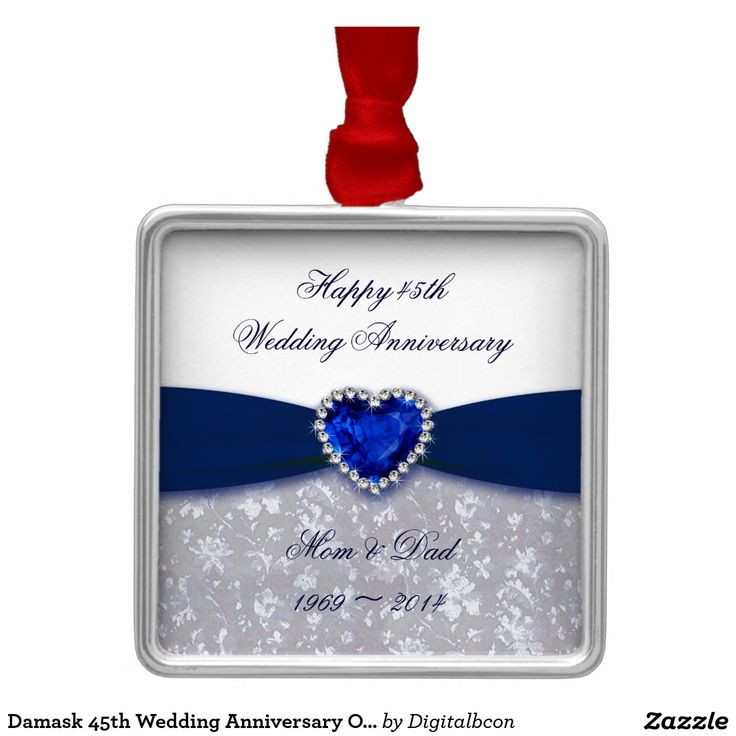 damask 45th wedding anniversary ornament 45th wedding