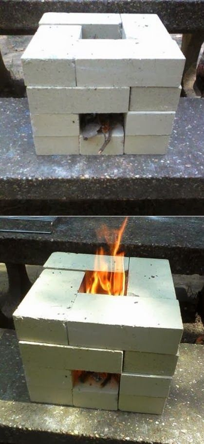 How to Make a 16 Brick Rocket Stove Make sure to click through his 'improved' versions on youtube....they get better each time.