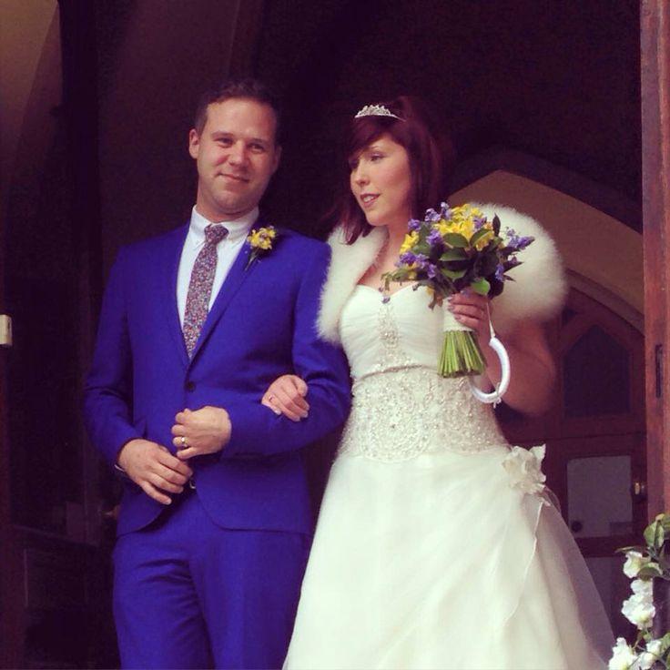 Spring wedding blue suit forget me nots vintage