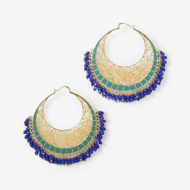 Green Blue Moon Bali Filigree Hoops by Isharya India