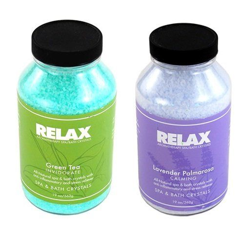 Green Tea & Lavender Palmarosa Spa Accessory Aromatherapy Crystals -22 Oz- All Natural Hot Tub Fragrance for Soaking Aches & Pains by Relax Spa & Bath. Save 14 Off!. $24.95. Powerful Aromatherapy with Natural Coloring - Enhances Relaxation - Vitamin Enfused. Green Tea & Lavender Palmarosa - 22 Oz Bottles - All Natural Therapeutic Crystals. Remedy for Aches & Pains - Reduce Tension & Stress - Enhance Self-Healing & Detoxify. Skin Softening Moisturizers - For Spas, Hot Tubs, Jacuzzi, & Whi...