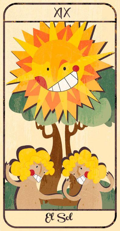 El Sol: naipe de un Tarot infantil para niños pendiente de editar; La maqueta del mismo (un libro tutorial ilustrado cuya contraportada en forma de caja guarda en su interior las cartas) se puede visitar en el Museo del Tarot de Bélgica del coleccionista de Tarot Guido Gillabel. Autora Elena Catalán