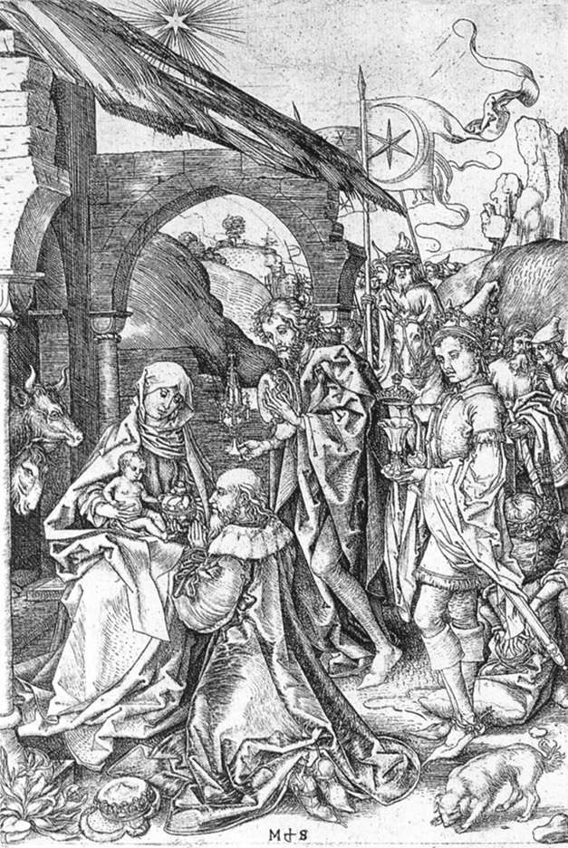 SCHONGAUER, Martin  Adoration of the Magi  c. 1475  Copperplate engraving, 256 x 168 mm  Staatliche Museen, Berlin
