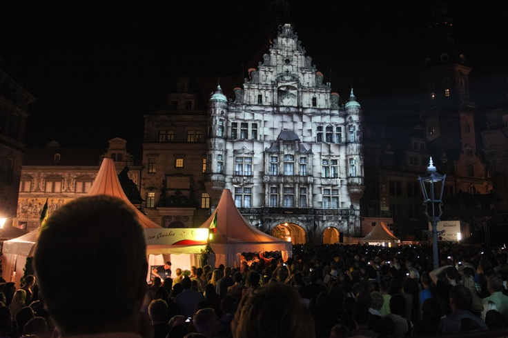 great light show to the city festival in Dresden
