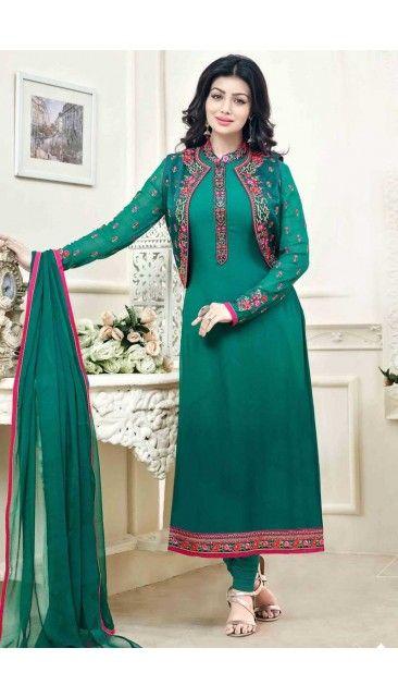 Ayesha Takia Green Georgette Churidar Suit With Dupatta - DMV14821