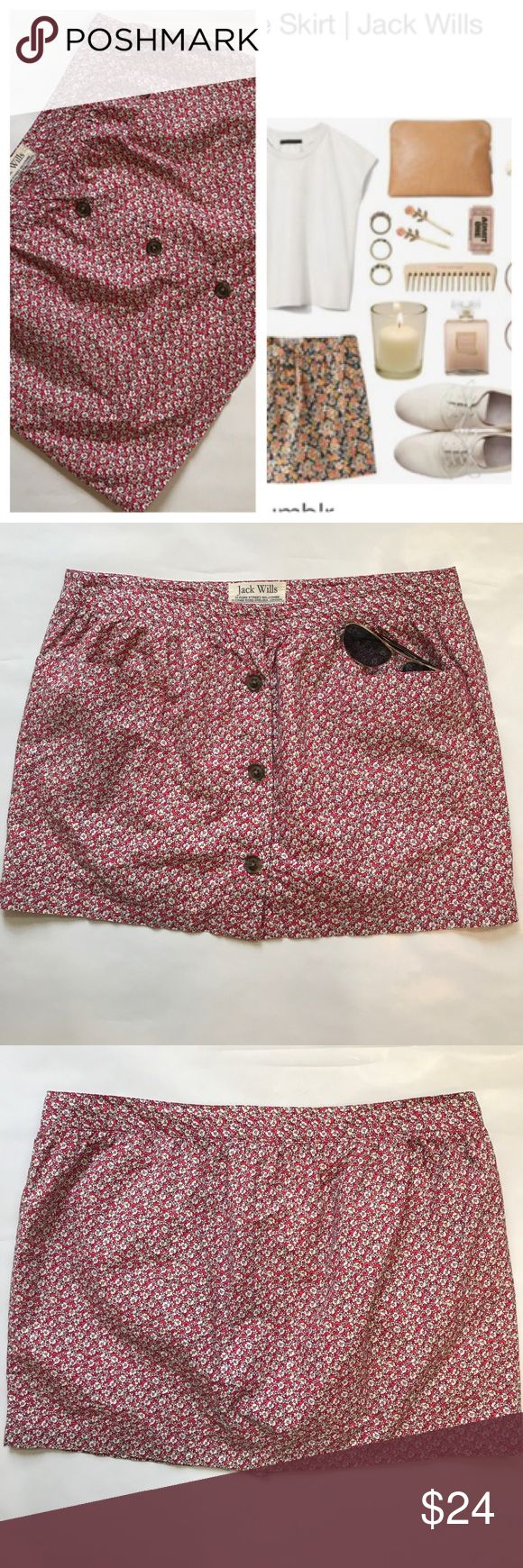 "🌸 Jack Wills Floral Skirt with Pockets 🌸 This cute skirt is perfect for summertime!  It is missing the top button, but the hooks are still there to fasten it with. This skirt measures approx. 14"" in length.  According to the brands website, this should fit you if your waist measures 29"" and your hips are 39"". Jack Wills Skirts Mini"