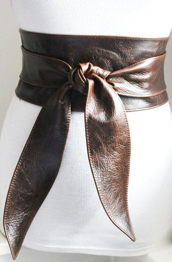 Vintage Dark Brown Leather Obi Tulip tie Belt | Waist or Hip Belt | Sash tie belt | Real Leather Belt| Corset Belt | Plus size belts