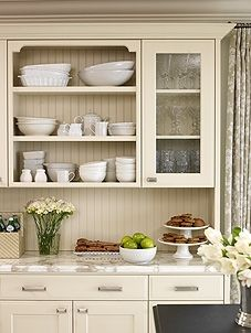 The Most Perfect Shade Of Greige Cabinets Love The Open Cabinet W Glass Beside It