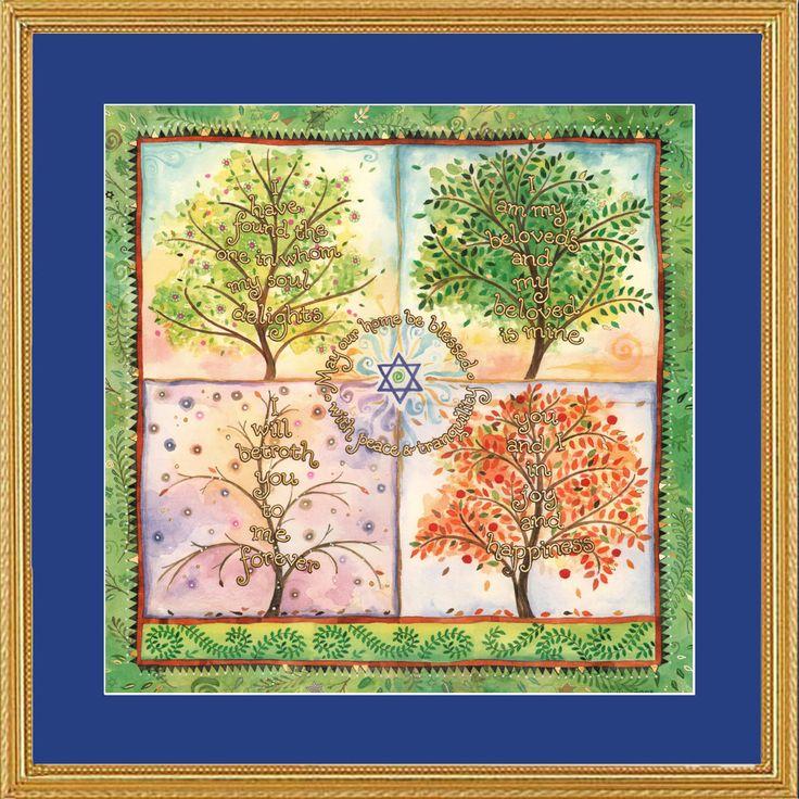 Jüdische Heimat Segen Jahreszeiten gerahmte Kunst von MickieCaspi