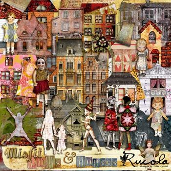 Misfit Dolls And Houses by Rucola Designs @ Mischief Circus. A digital image kit for your art, mixed media, collage, ATCS, photo manipulation and scrapbooking.