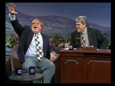 Chris Farley on Leno- Greatest to ever grace SNL