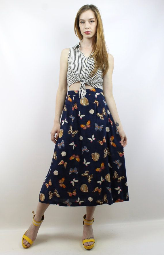 Vintage 90s Navy Butterfly Print Midi Skirt, fits S/M by shopEBV