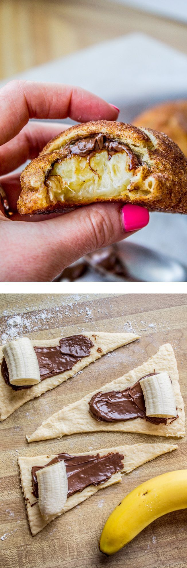 Stuff a buttery crescent roll with banana and a schmear of Nutella, roll it in…