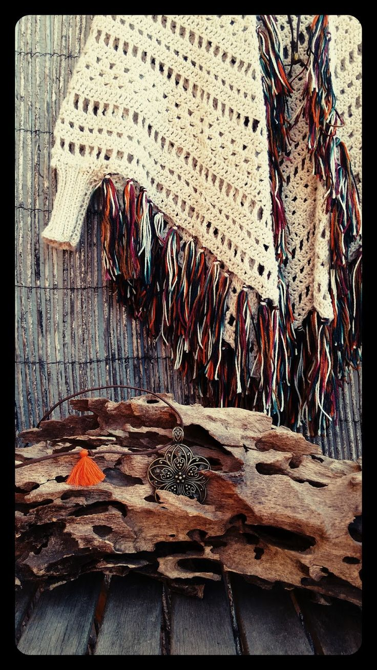 Bo-M: Xaile Acasacado Cru com franjas mescladas em cores do Outono