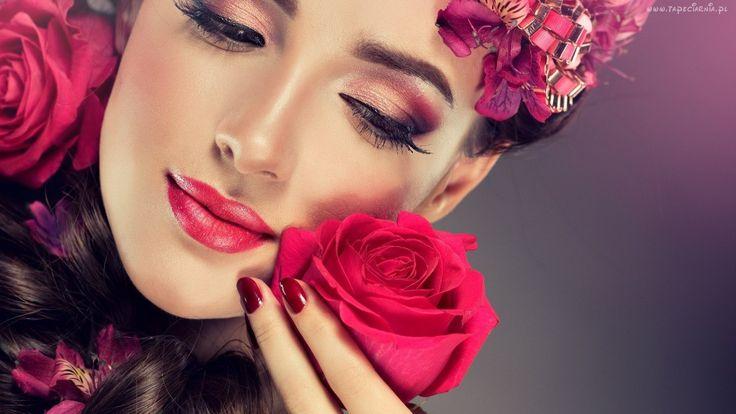 Kobieta, Makijaż, Róże
