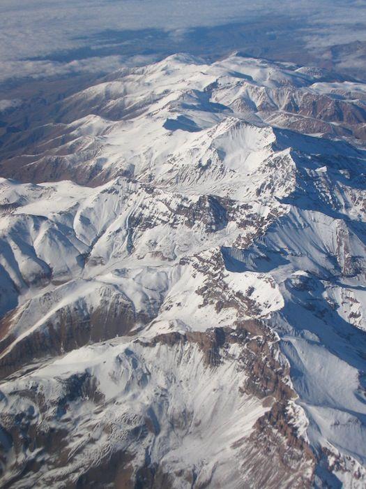 Vista aérea de la cordillera de los Andes.