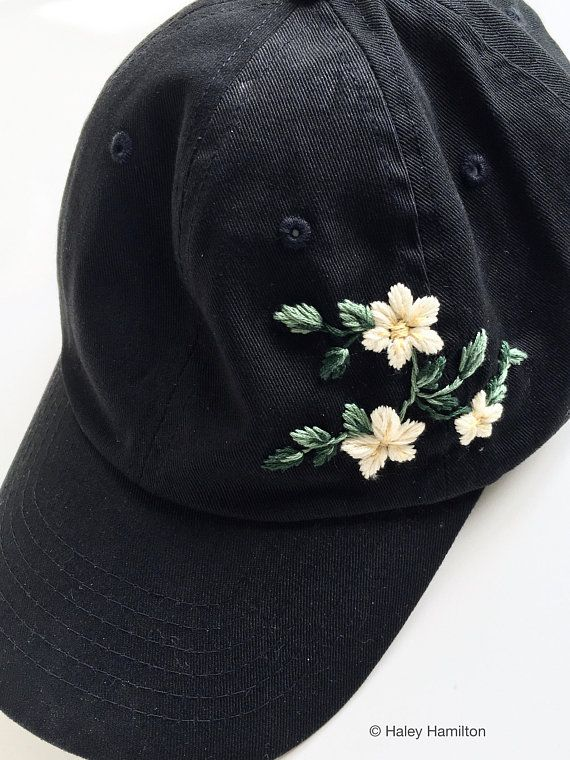 6c4b03fb1e030 Floral Embroidered Cap   Embroidered Black Dad Hat by Haley Hamilton Art on  Etsy. Embroidered Floral Cap