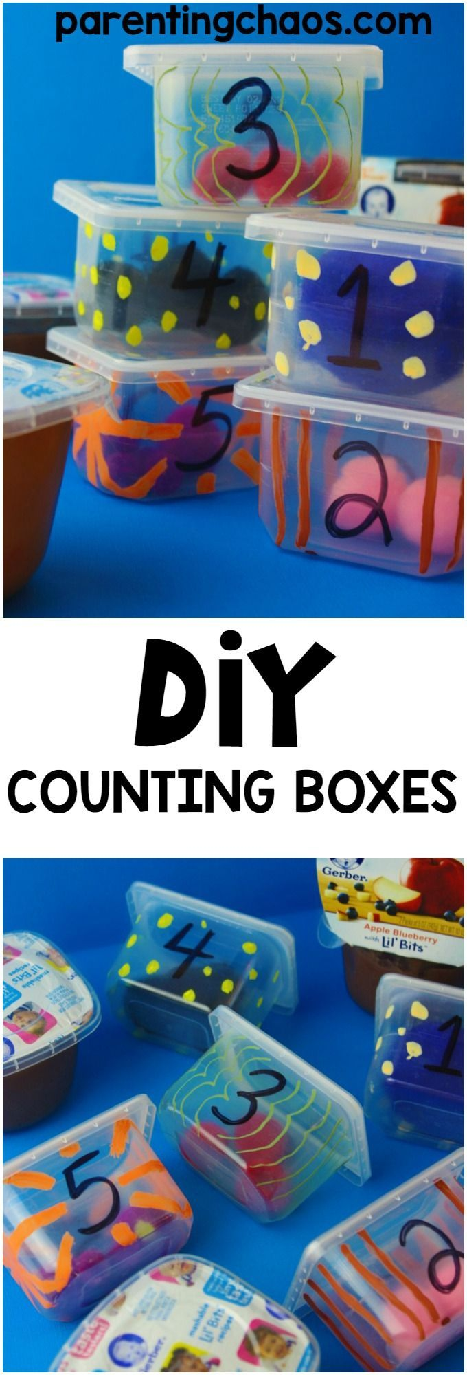 These super easy DIY Counting boxes are an amazing fun quiet time learning toy! #GerberGift #GerberChewU #ad