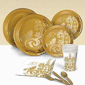 Golden Anniversary Basic Party Pack < + more 50th anniversary party supplies & decorations