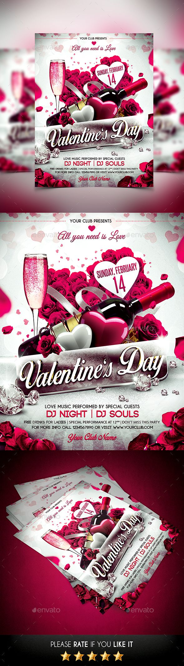 Valentines Day Flyer Template PSD #design Download: http://graphicriver.net/item/valentines-day-flyer/14467943?ref=ksioks