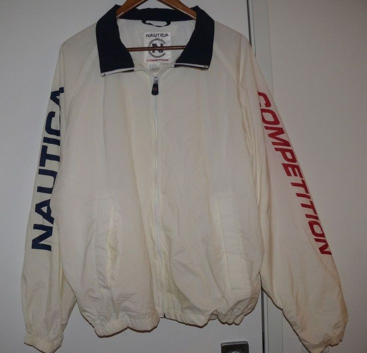 Nautica Competition Men's Sailing Windbreaker Jacket XL White Red Blue Vintage #Nautica #Windbreaker