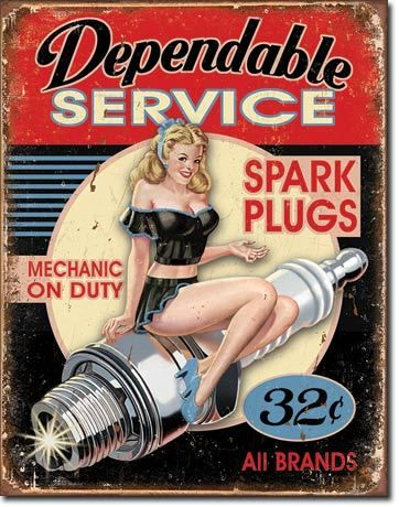 Dependable Service Pinup Tin Sign 12.5 x 16 Inches
