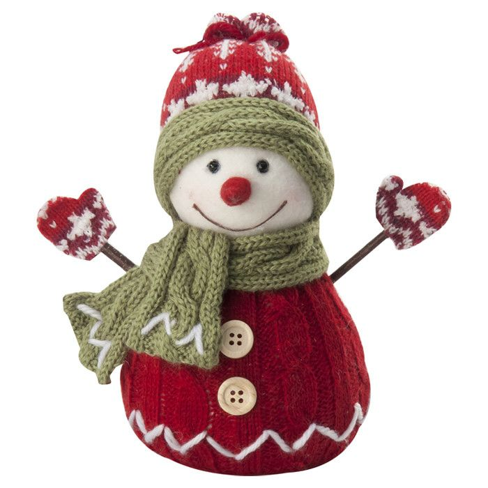 Features:  -Poly blend fabrics and knits.  -Handmade.  -Faux fur and felt.  Quantity: -Individual Item.  Product Type: -Stuffed Holiday Accents.  Theme: -Snowmen.  Holiday Theme: -Yes.  Seasonal Theme