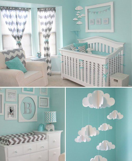 Chevron Teal combines with a gray-and-white chevron print in this classic nursery. The wall color and the cloud mobile bring a light, airy feel. 50 Beautiful Blue Nurseries - mom.me